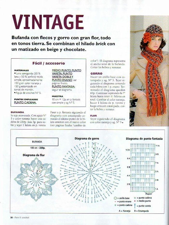 Conjunto Gorro y Bufanda Vintage Crochet-Tricot - Patrones Crochet ...