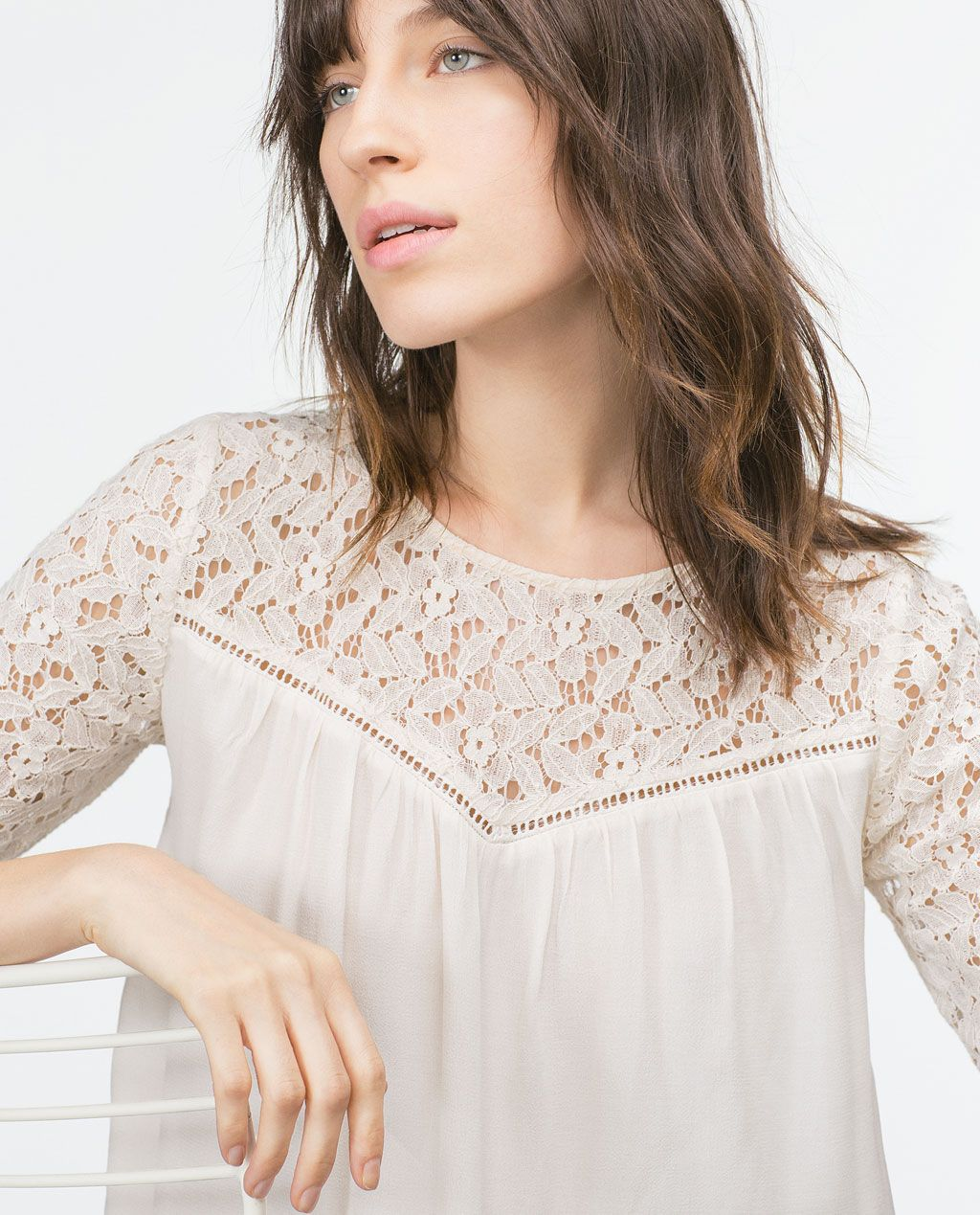ba147e46868a ZARA - COLLECTION AW15 - GUIPURE LACE BLOUSE | Outfit ideas ...