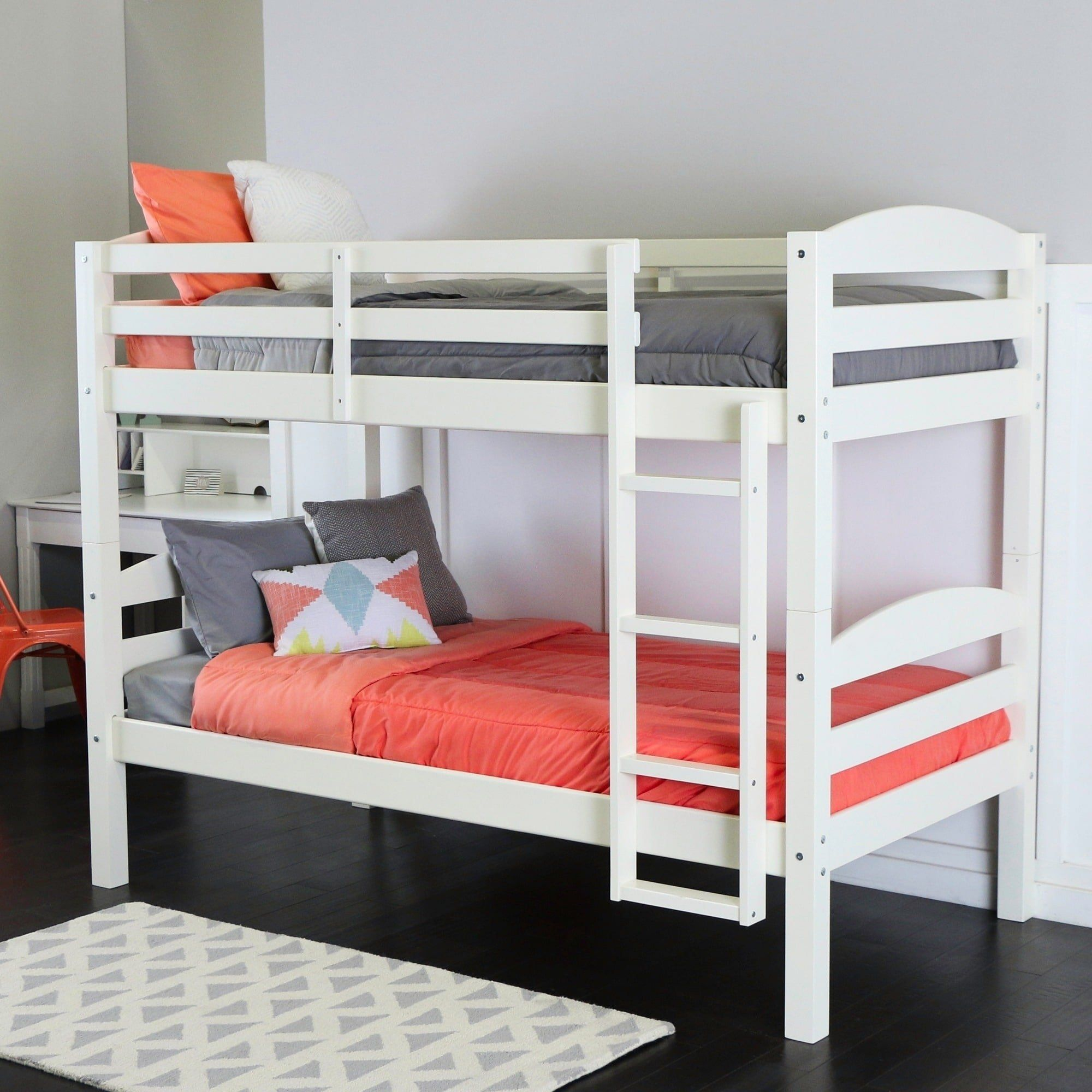 Double loft bed with desk  Wood Twin Over Twin Bunk Bed  White Twin Over Twin Solid Wood Bunk