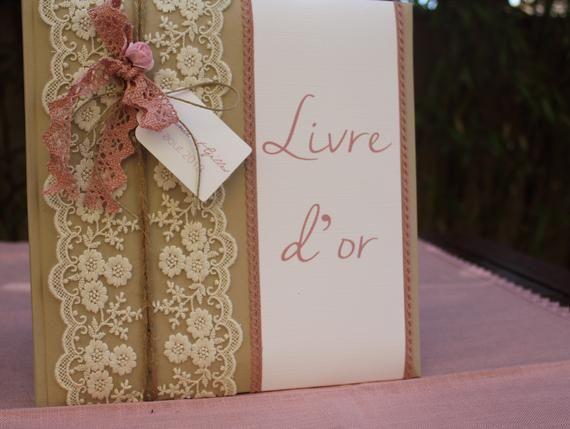 Livre dor gamme gamme |mariage romantique en rose, ficelle et blanc|