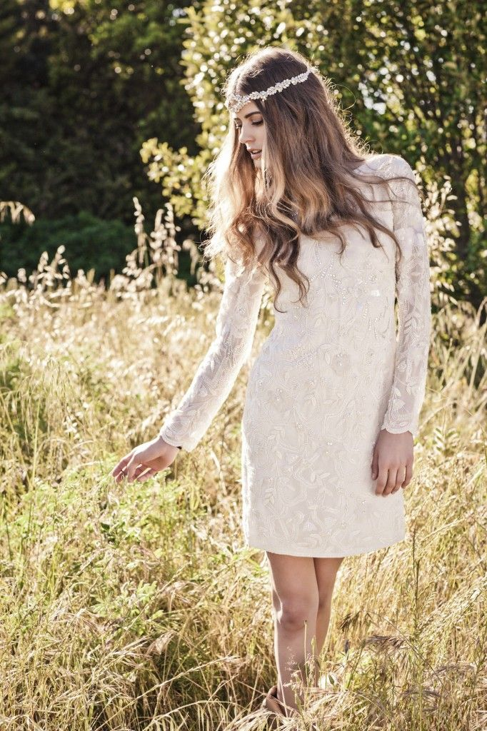 Casual Wedding Dress, short bridal gown with long sleeves