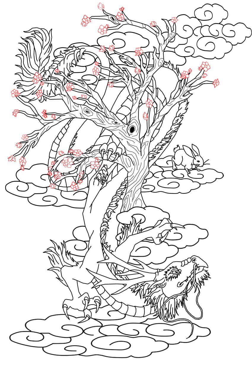 Cherry Blossom Dragon Art Tattoo Design Chinese Dragon And Hare By Kitiharumi Dragon Tattoo Colour Dragon Tattoo Dragon Tattoo Stencil