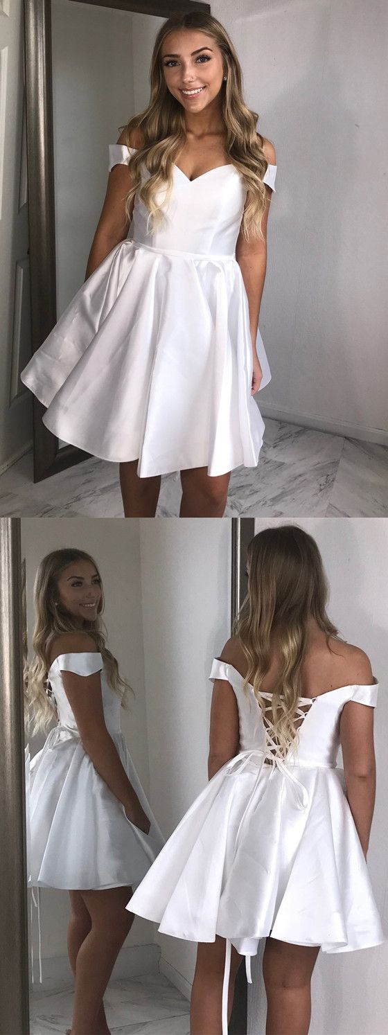 Newest Offshoulder White Lace Up back Simple Cheap Homecoming