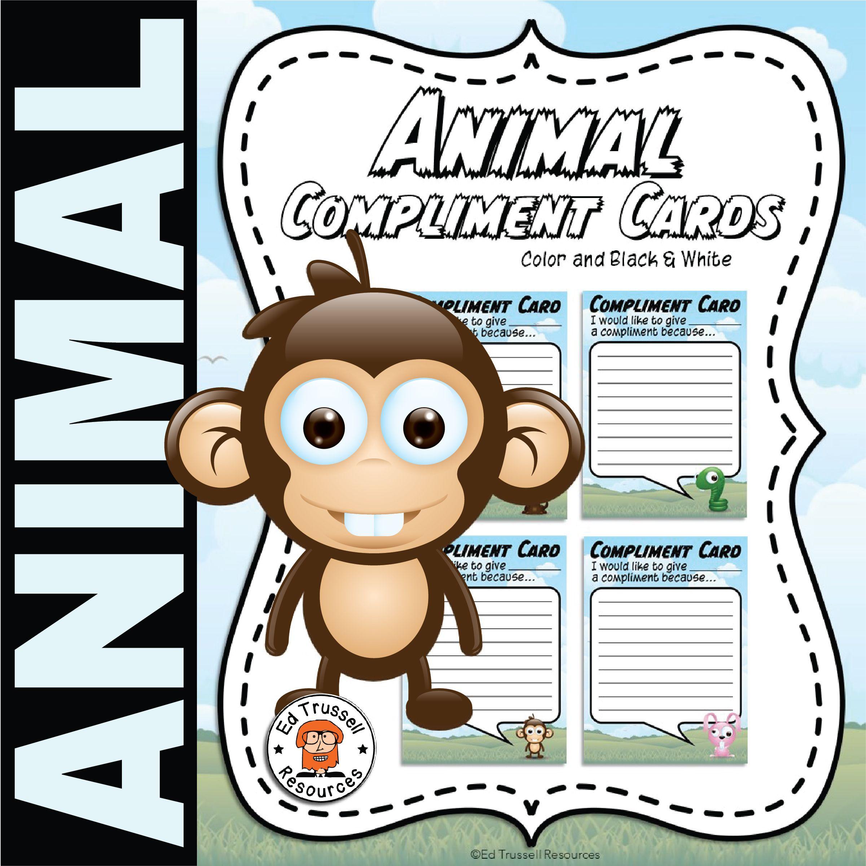 Animal Compliment Cards Compliment Cards Compliments Classroom Tools [ 2401 x 2401 Pixel ]