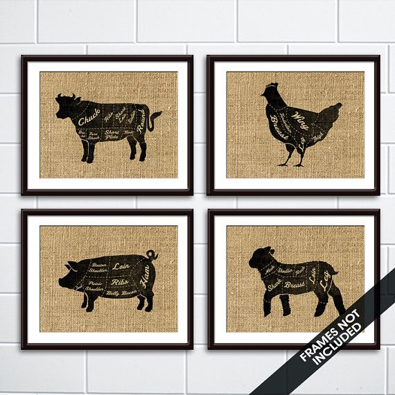 Beef Chicken Pork And Lamb Butcher Diagram By