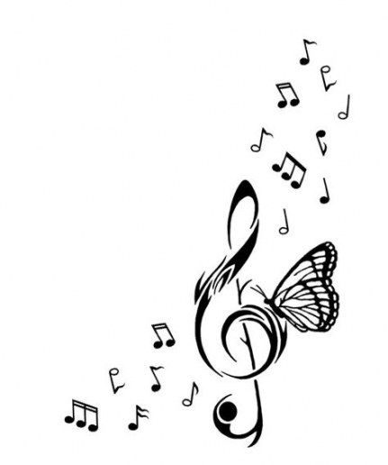 Tattoo Music Butterfly Treble Clef 48 Ideas