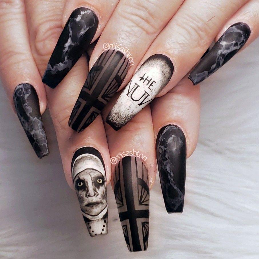 The Nun Nails Horror Nails Halloween Nail Designs Halloween Nails