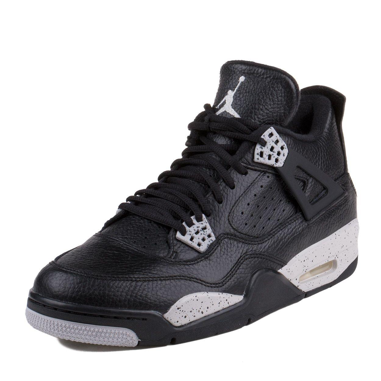 """Nike Mens Air Jordan 4 Retro LS """"Oreo"""" Black/Tech Grey"""