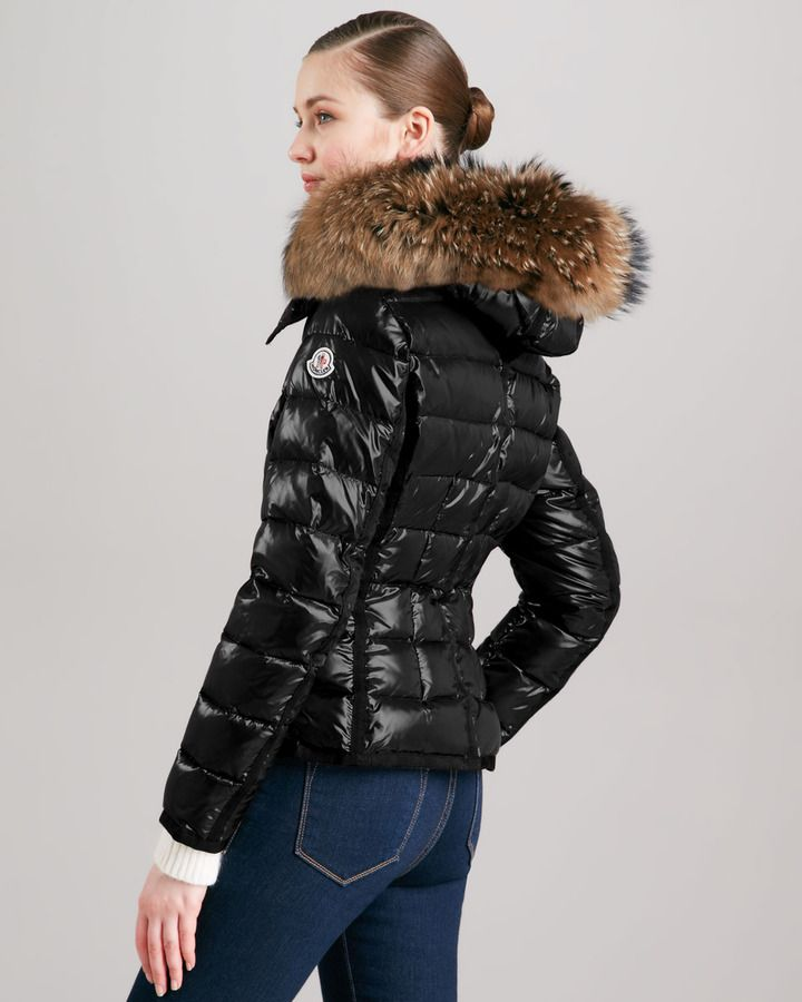 d7c5ceebe499 Moncler Short Puffer Jacket with Fur-Trimmed Hood
