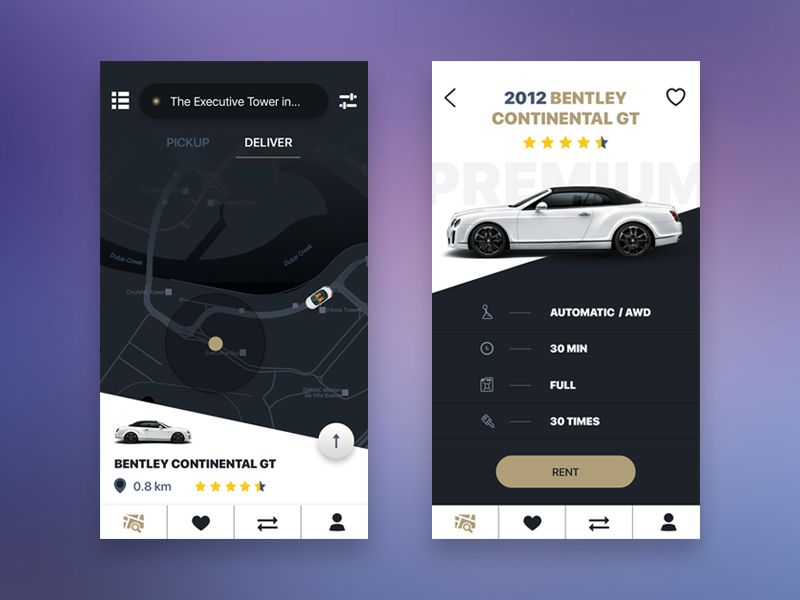 Exclusive car rental | UX/UI | App design inspiration, Mobile ui
