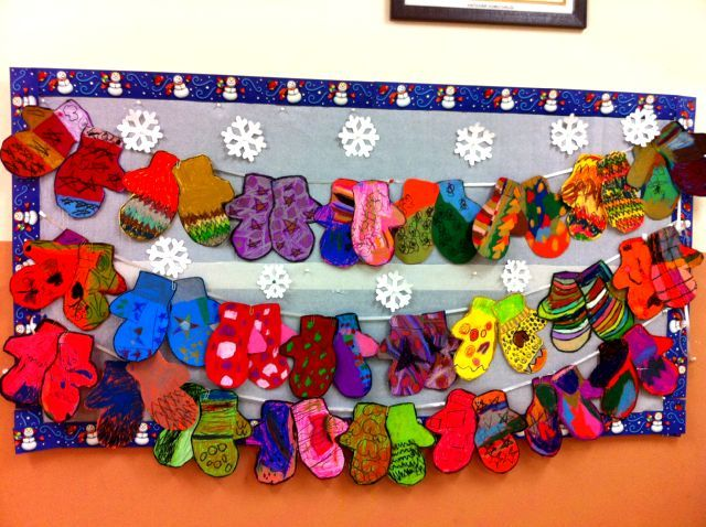 Adorable winter mittens bulletin board! | Christmas art ...
