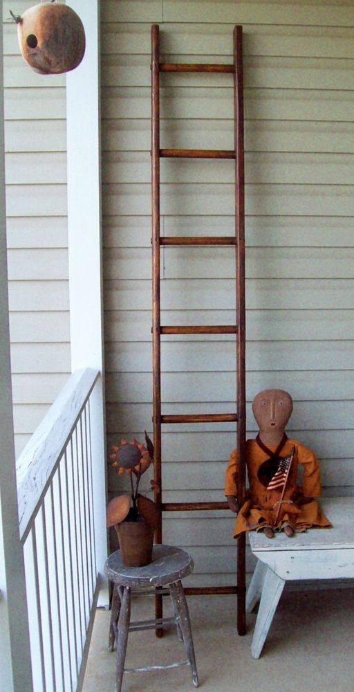 Vintage Apple Orchard Ladder Refinihsed 7 Ft High 12 Wide Vintage Apple Ladder Decor Ladder