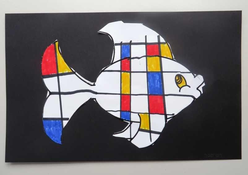 Wonderbaar Sjabloon voor Mondriaan kunst, thema kunst voor kleuters IP-04