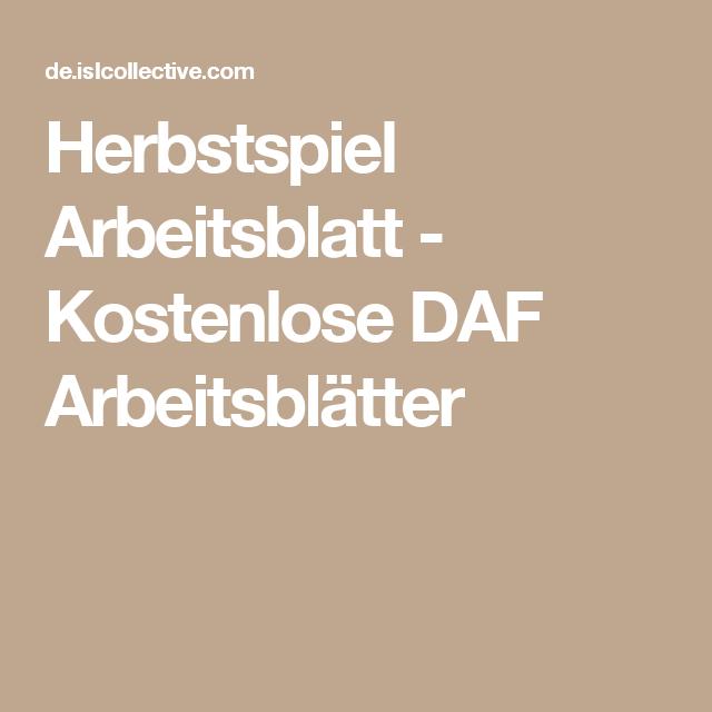 Herbstspiel Arbeitsblatt - Kostenlose DAF Arbeitsblätter