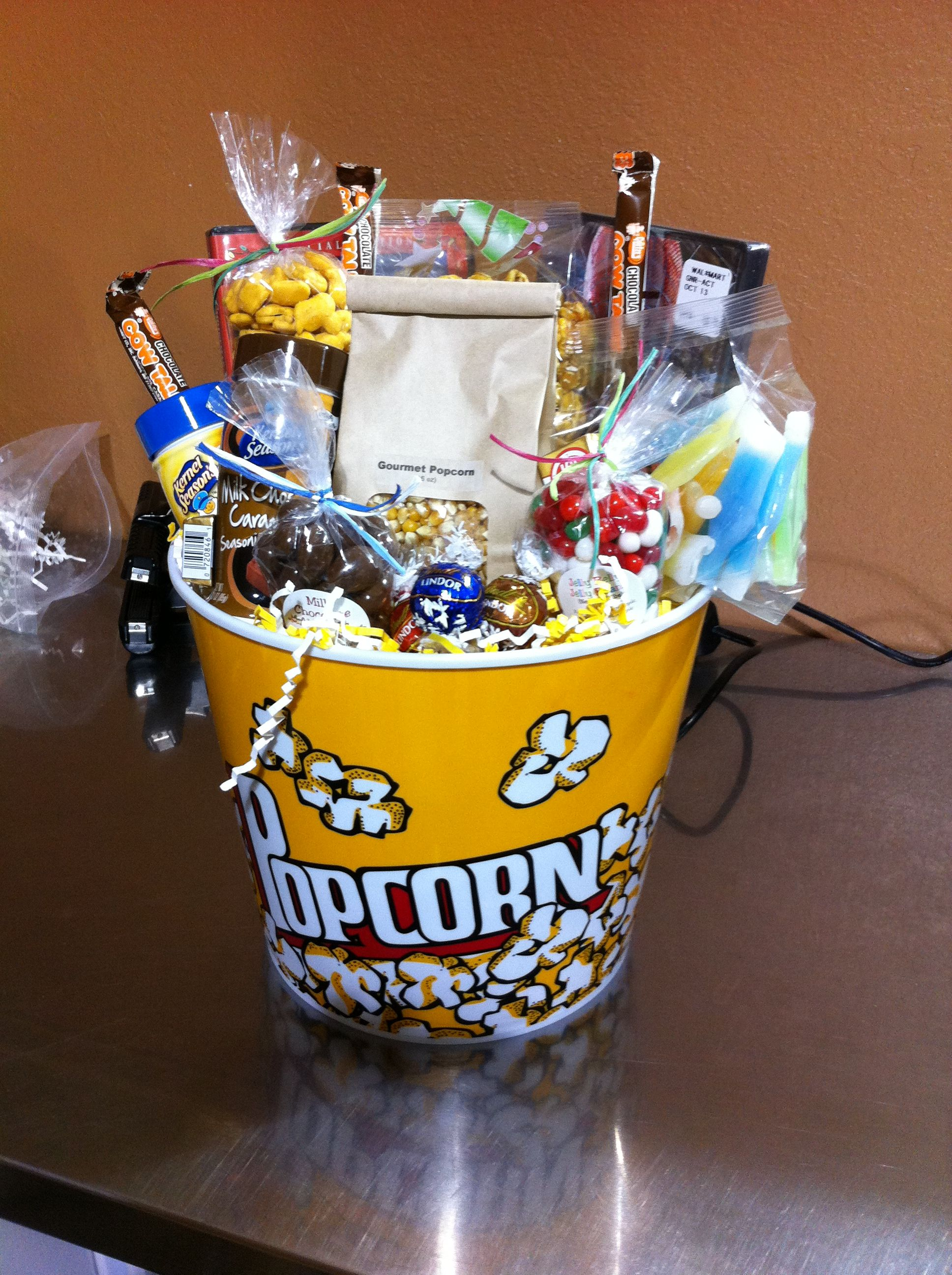 Movie Night Gift Basket Put Together For Your Out Of Town Guests And