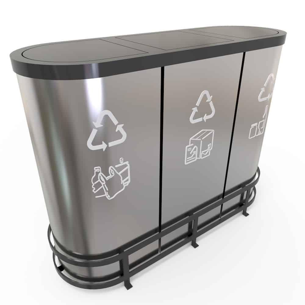 Malmo Poubelle De Tri Pour Bureau 3 Bacs Inox 50 Litres Trash