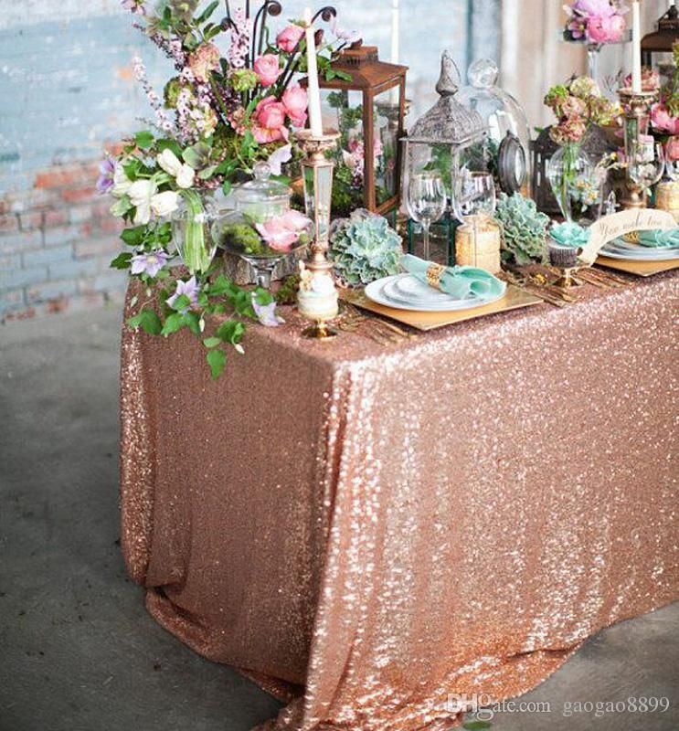 Lovely Blush Glitz Sequin Tablecloth With Mint Napkins And Succulents