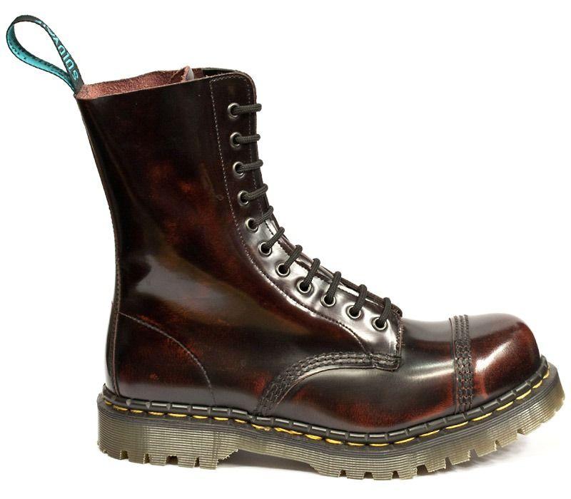 e35fd4e15174c Solovair - Burgundy Rub Off Leather Boot With Steel Toe Cap (11 Eyelet) -  SLBS07