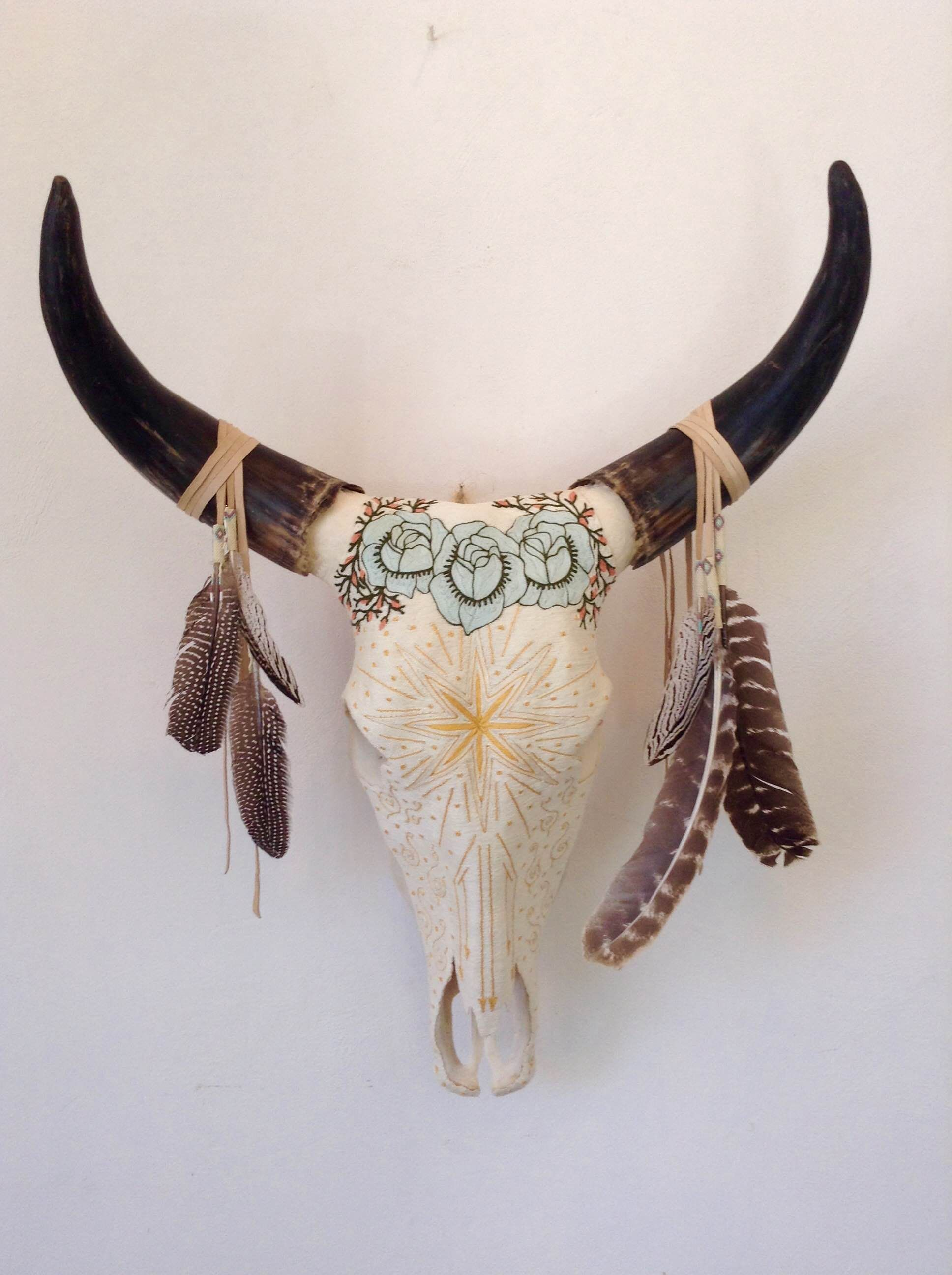 Yarn Painted Cow Skull Star Shower Additional Hand Beaded Leather And Feather Adornment