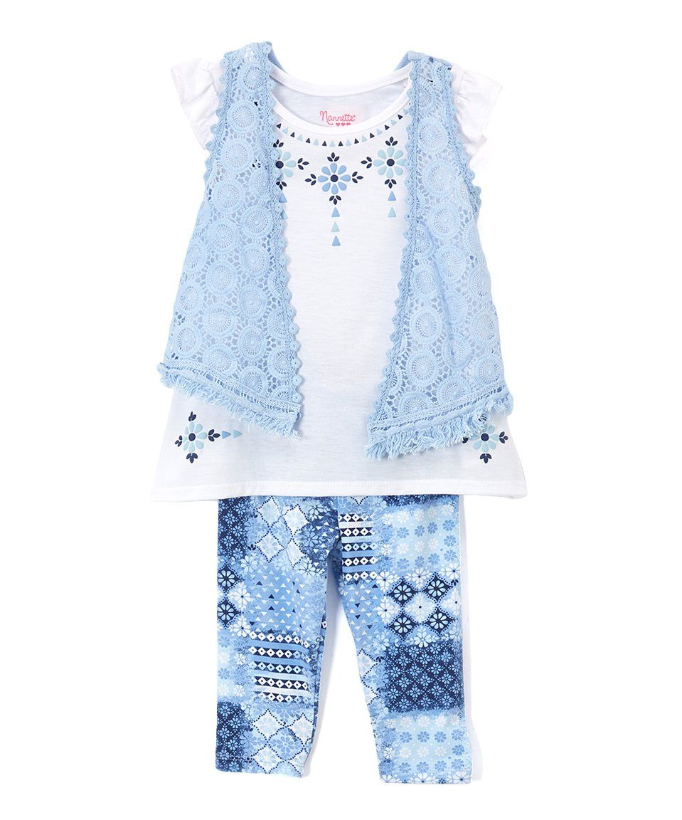 Take a look at this Nannette White & Blue Lace Geo-Detail Tunic Set - Toddler & Girls today!