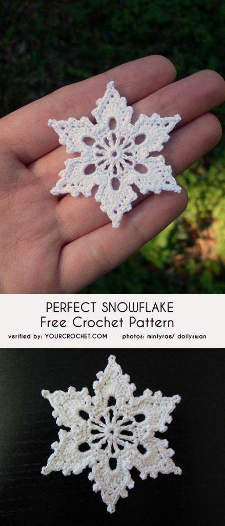 Modèle de crochet gratuit de flocons de neige parfaits   – Häkeln