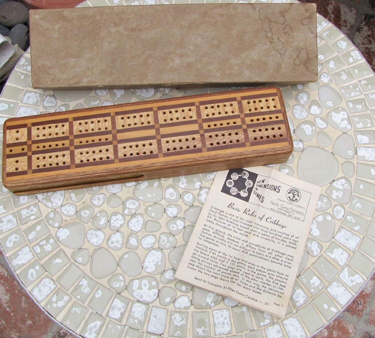 Vintage Cribbage Board Horn Cribbage Board With Box Instructions