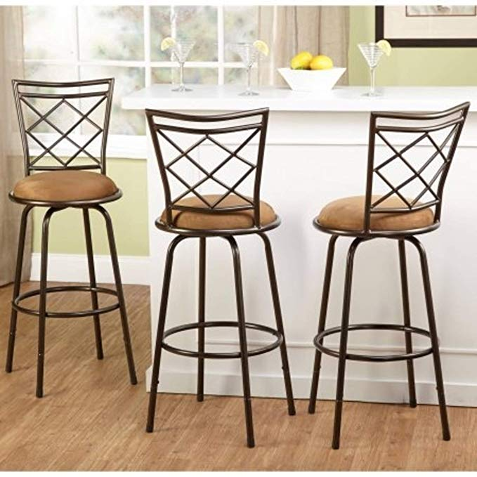 Amazon Com 3 Piece Avery Ajustable Height Barstool Multiple Colors Brown Gatewa Bar Stools With Backs Kitchen Bar Stools Swivel Bar Stools Kitchen