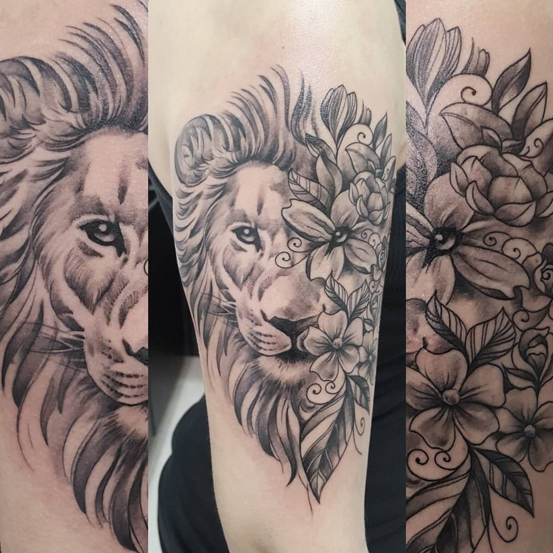 I Like The Idea Of The Flowers On Half Part Of The Lion S Face But Not The Style Of This Tat Tattoos For Women Half Sleeve Half Sleeve Tattoo Elephant Tattoos