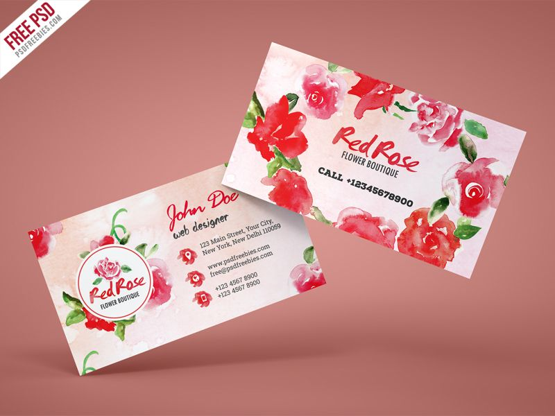 Flower Shop Business Card Free Psd Template Psdfreebies Com Florist Business Card Free Business Cards Psd Template Free