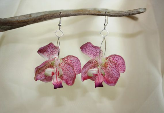 Pink Orchid Orchid Earrings Flower Earrings Hawaii By Draedesigns 10 00 Pink Orchids Orchid Flower Flower Jewellery