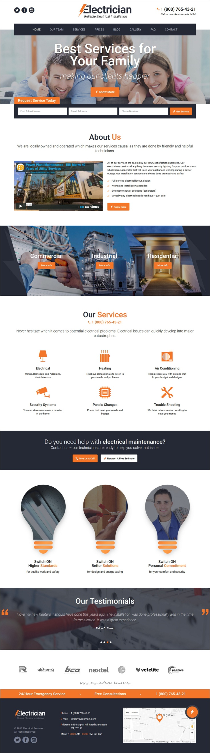 electrician is a wonderful responsive html bootstrap template for