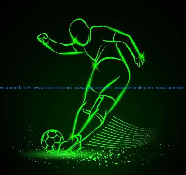 3d Illusion Led Lamp Footballer File Cdr And Dxf Free Vector Download For Laser Engraving Machines D In 2020 Vector Free Laser Engraving Machine Vector Free Download