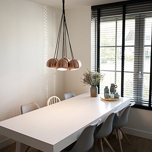 qazqa design modern esstisch esszimmer pendelleuchte pendellampe h ngelampe cluster. Black Bedroom Furniture Sets. Home Design Ideas