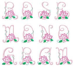 Download Rose Monogram by Gosia Embroidery Home Format Fonts on ...