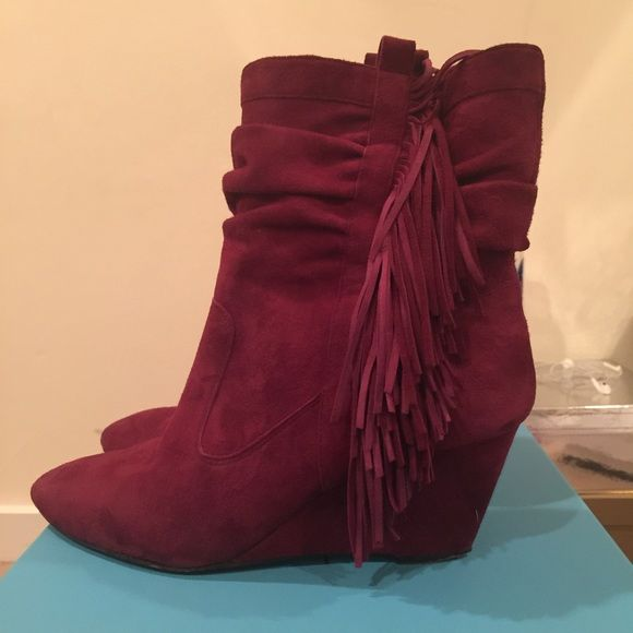 Jean Michel Cazabat Vanka Bordo Bootie Gorgeous Bordeaux-Colored wedge bootie with side fringe detail. Suede upper. Slip on style. Mint condition. Comes with dust bag and heel replacements. Size 39.5 Jean Michel Cazabat Shoes