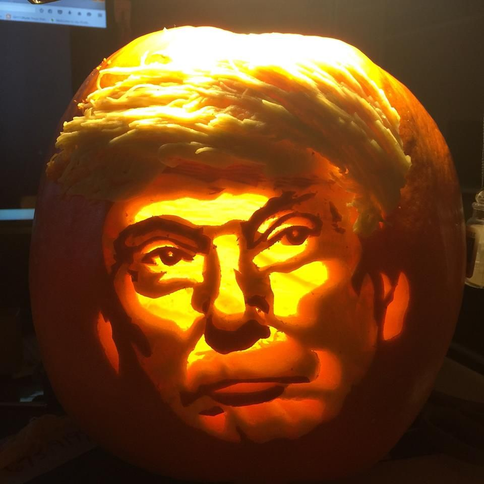 Donald trump pumpkin carved by my mother