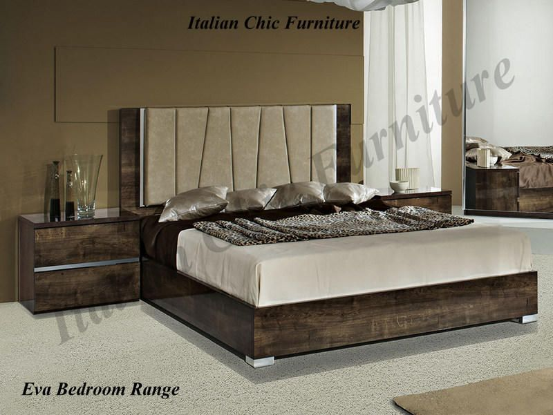 Eva Bedframe In High Gloss Rovere Monte With Optional Night Tables