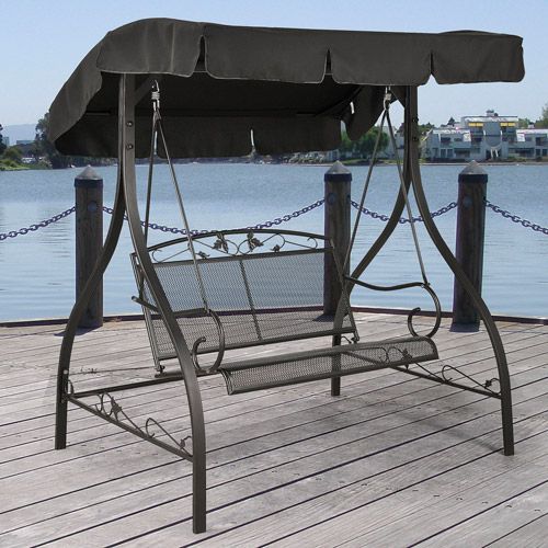 Jefferson Wrought Iron Outdoor Swing Seats 2 Patio