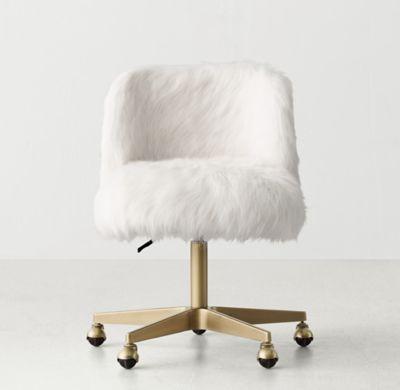 rh teen's alessa white kashmir faux fur desk chair - antiqued