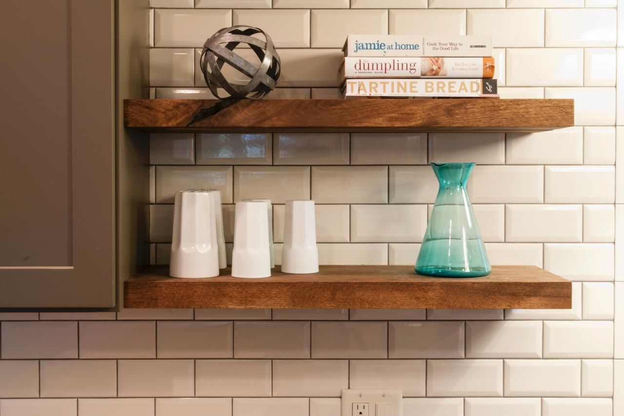 Great In This Kitchen, Floating Wood Shelves Become A Simple And Stylish Place To  Stash Cookbooks
