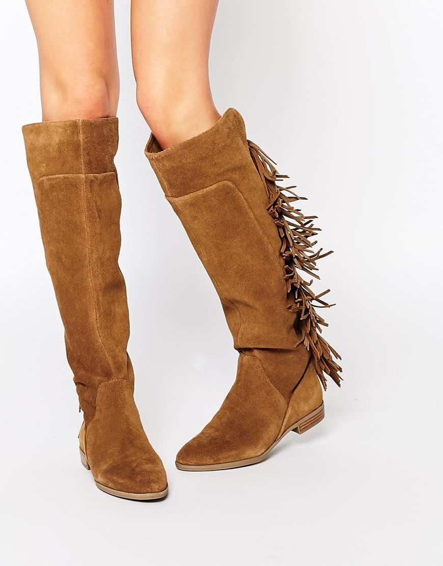 Image 1 of ALDO Cyndy Tan Suede Fringe Knee Boots   . shoes ...