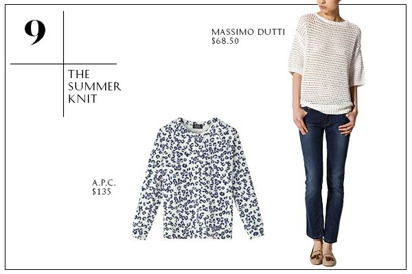 2013 Wardrobe Essentials: The Summer Knit — For chilly office environments or balmy nights by the bonfire, a lightweight knit that feels summery will help you stay warm without looking like you dug out last Decembers holiday sweater.   A.P.C. Leopard Print Raglan Sweatshirt; Massimo Dutti Open Work Sweater.
