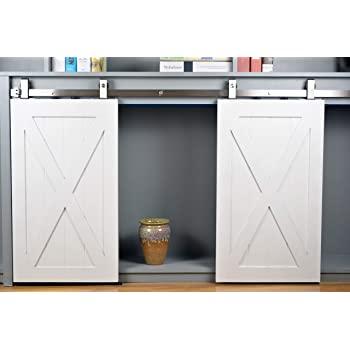 Kit No Cabinet DIYHD TYLTP 48 Mini Black Top Mount Wooden Double Sliding Barn Hardware to Hang 2 Door