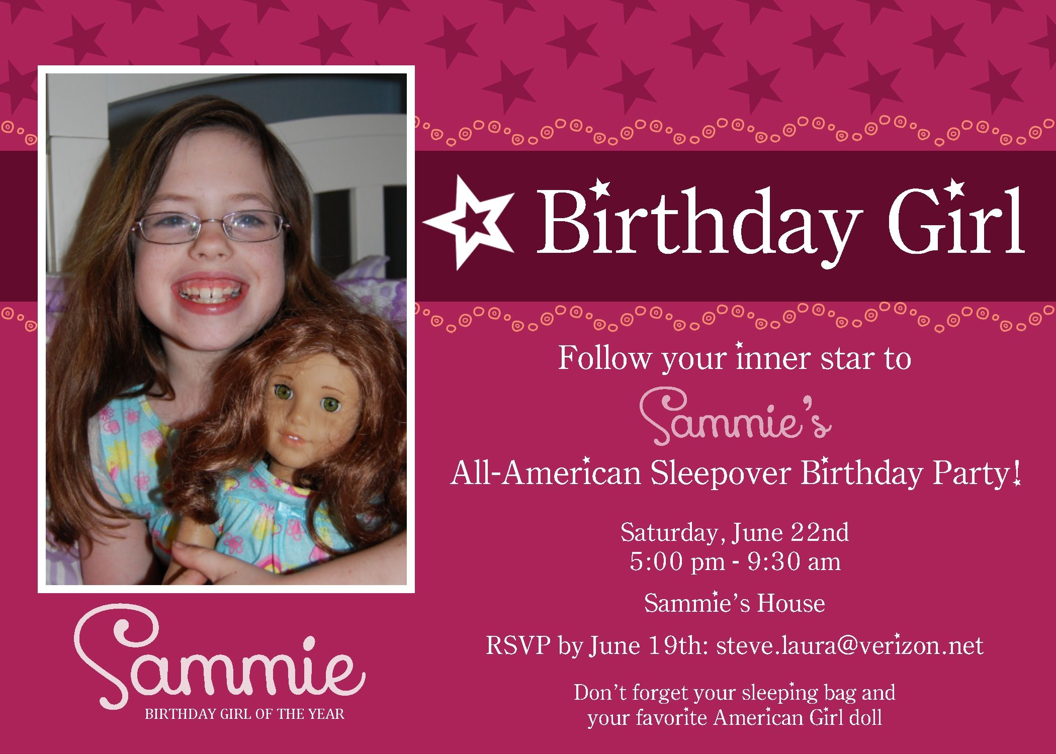 American Girl Party Invitation Cute To Copy Cat In Red In Some