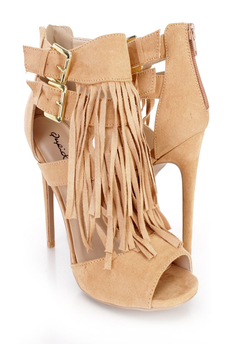 Toffee Fringe Peep Toe Single Sole High Heels Suede