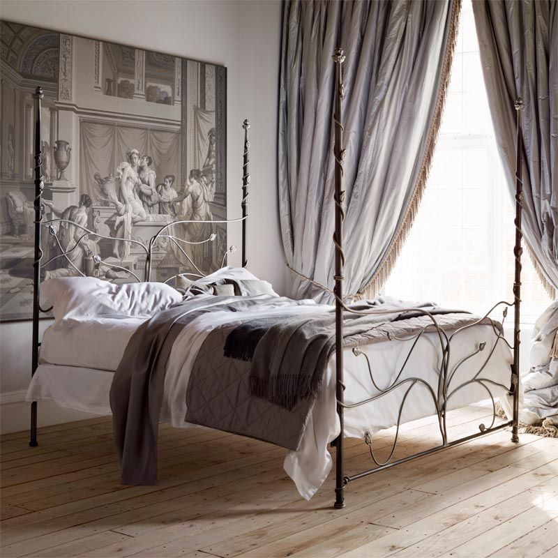 Best Tree Of Life Handcrafted Luxury Cast Metal Four Poster Bed 640 x 480