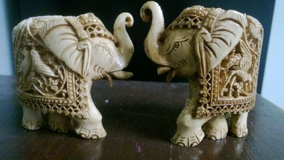 Stunning Detail on Antique Pre Ban Ivory Elephants by DannysAttic, $580.00