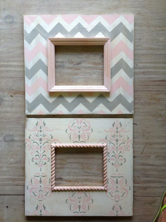 Set de 2-8 x 10 agobiados madera montura Chevron vivero rosados y ...