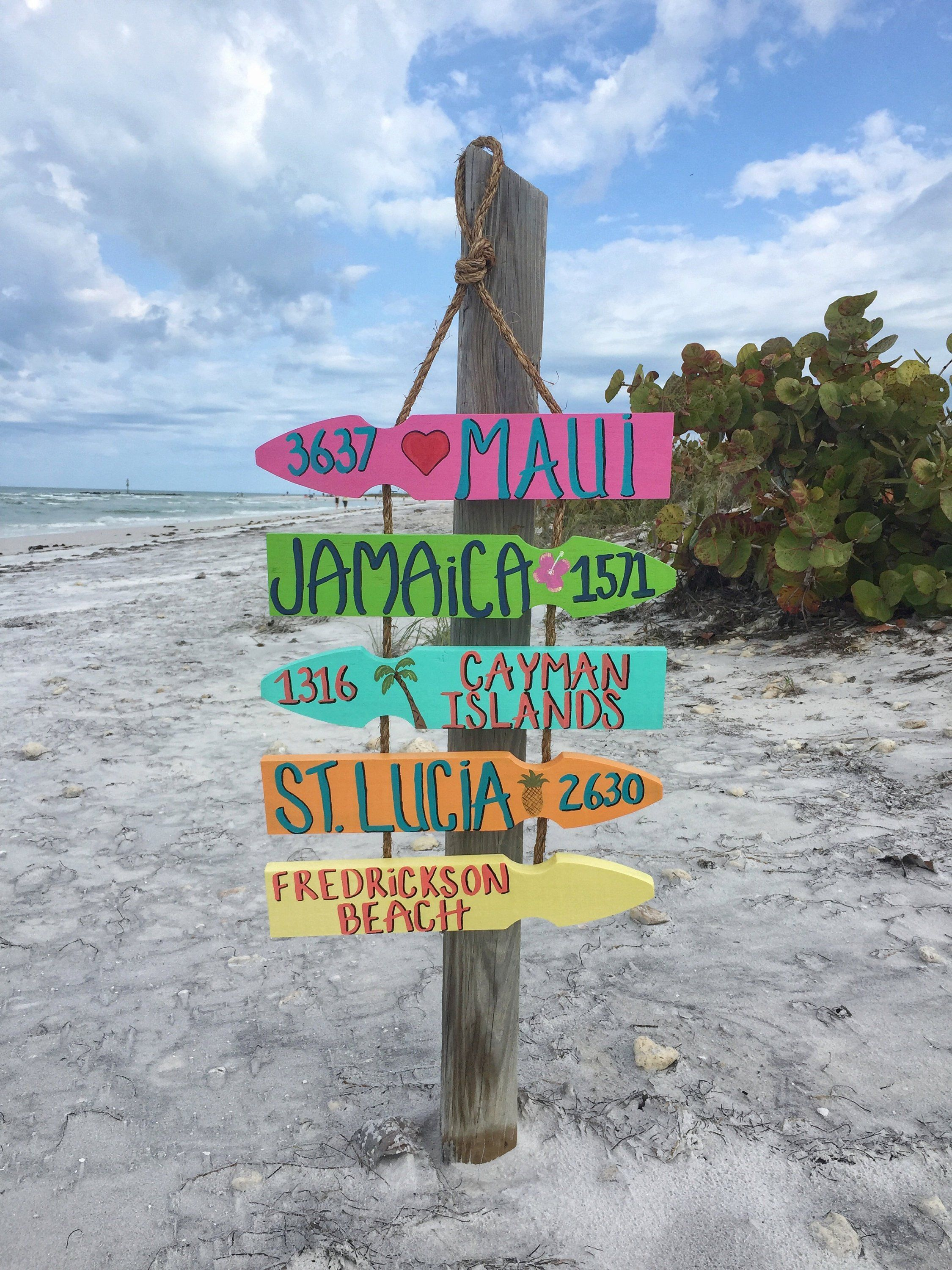 Personalized Beach Directional Sign Mileage Sign Beach Location