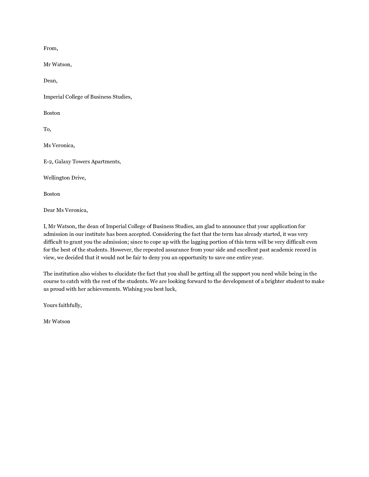 Letter Of Recommendation For School Counselor Graduate School Letter